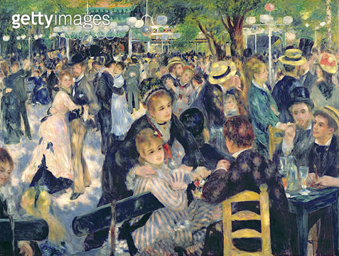 <b>Title</b> : Ball at the Moulin de la Galette, 1876 (oil on canvas) (see 98034)<br><b>Medium</b> : oil on canvas<br><b>Location</b> : Musee d'Orsay, Paris, France<br> - gettyimageskorea