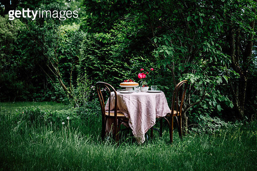 Homemade cheese cake served on table in garden. Table ready in garden for a summer breakfast. - gettyimageskorea