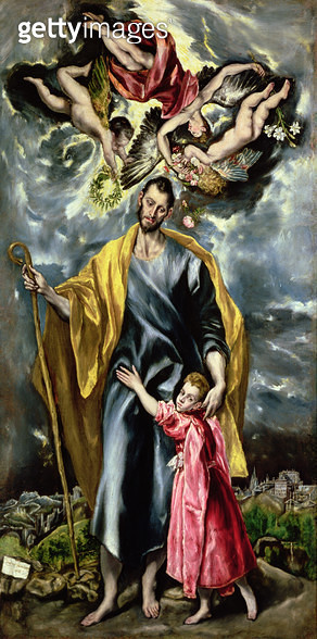 <b>Title</b> : St. Joseph and the Christ Child, 1597-99 (oil on canvas)<br><b>Medium</b> : oil on canvas<br><b>Location</b> : Museo de Santa Cruz, Toledo, Spain<br> - gettyimageskorea