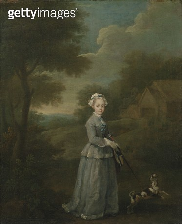 <b>Title</b> : Miss Wood with her Dog, c.1730 (oil on canvas)<br><b>Medium</b> : oil on canvas<br><b>Location</b> : Yale Center for British Art, Paul Mellon Collection, USA<br> - gettyimageskorea
