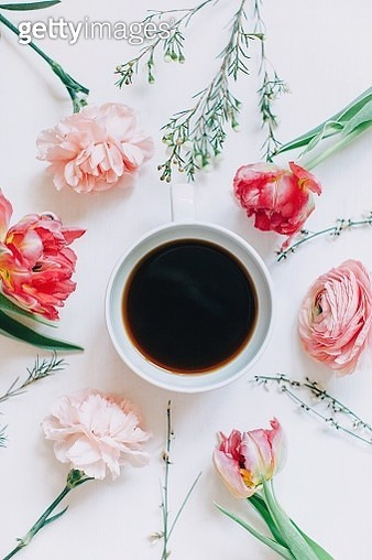 Directly Above Shot Of Flowers And Coffee - gettyimageskorea