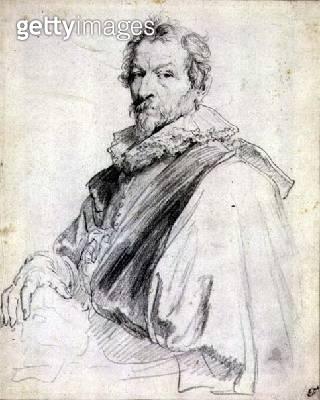 <b>Title</b> : Portrait of Hendrick Van Balen (black chalk)Additional Infoformer teacher of van Dyck;<br><b>Medium</b> : <br><b>Location</b> : Private Collection<br> - gettyimageskorea
