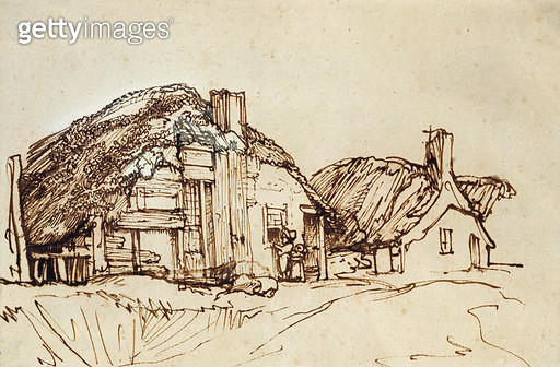 <b>Title</b> : Two Thatched Cottages with Figures at the Window (pen & brown ink)<br><b>Medium</b> : pen and brown ink<br><b>Location</b> : Private Collection<br> - gettyimageskorea