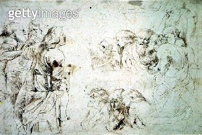 Three Groups of Apostles at the Last Supper (drawing) - gettyimageskorea