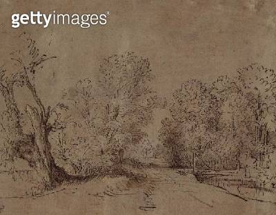 <b>Title</b> : A Wooded Road (pen & brown ink)<br><b>Medium</b> : pen and brown ink<br><b>Location</b> : Private Collection<br> - gettyimageskorea