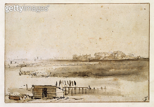 <b>Title</b> : View of Houtewaal (pen & brown ink)<br><b>Medium</b> : <br><b>Location</b> : Private Collection<br> - gettyimageskorea