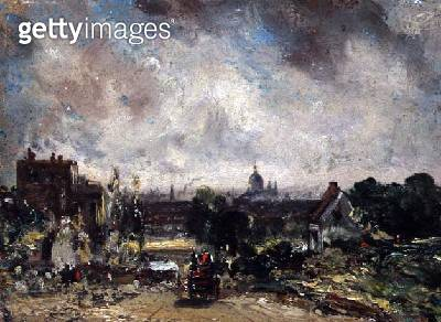 City of London from Sir Richard Steele's Cottage with the Mail Coach on the Road - gettyimageskorea