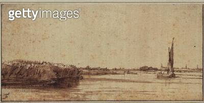 A River with a Sailing Boat on Nieuwe Meer (pen & brown ink) - gettyimageskorea
