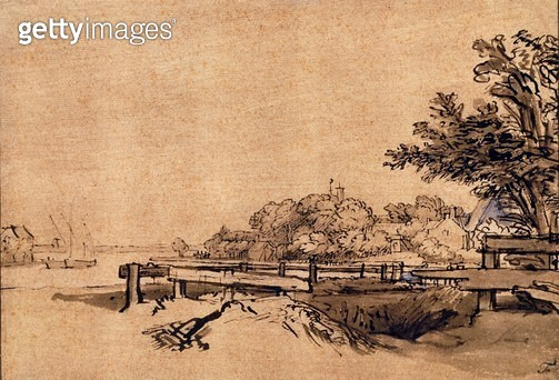 The Jetty (pen & brown ink) - gettyimageskorea