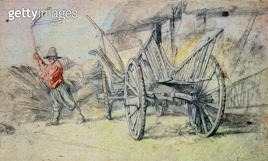 A Man Threshing with a Farm Cart in the Foreground (coloured chalk) - gettyimageskorea
