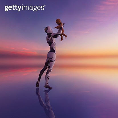 Female cyborg holds baby up high - gettyimageskorea