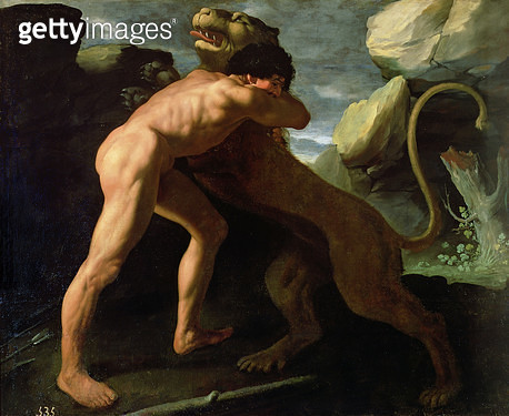 <b>Title</b> : Hercules Fighting with the Nemean Lion (oil on canvas)<br><b>Medium</b> : oil on canvas<br><b>Location</b> : Prado, Madrid, Spain<br> - gettyimageskorea