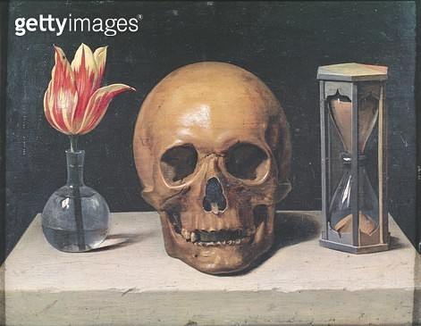 <b>Title</b> : Vanitas Still Life with a Tulip, Skull and Hour-Glass (oil on panel)<br><b>Medium</b> : oil on panel<br><b>Location</b> : Musee de Tesse, Le Mans, France<br> - gettyimageskorea