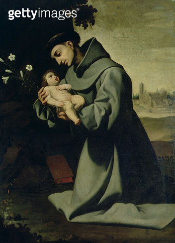 <b>Title</b> : St. Anthony of Padua (oil on canvas)<br><b>Medium</b> : oil on canvas<br><b>Location</b> : Prado, Madrid, Spain<br> - gettyimageskorea