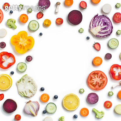 Various sliced fruits and vegetables on white background. Flat lay text space image. - gettyimageskorea