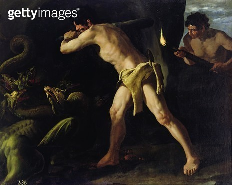 <b>Title</b> : Hercules Fighting with the Lernaean Hydra, c.1634 (oil on canvas)Additional InfoLutte d'Hercule contre l'Hydre de Lerne;<br><b>Medium</b> : oil on canvas<br><b>Location</b> : Prado, Madrid, Spain<br> - gettyimageskorea