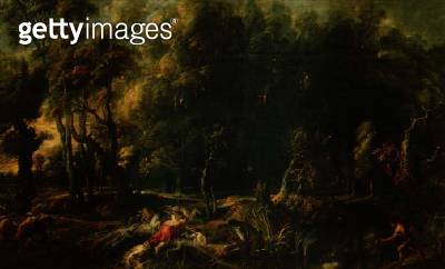 Landscape with the Hunt of the Calydonian Boar/ before (oil on canvas) - gettyimageskorea