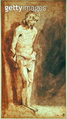 <b>Title</b> : Christ at the Column (pen & brown ink and wash on paper)<br><b>Medium</b> : pen and brown ink and wash on paper<br><b>Location</b> : Musee Conde, Chantilly, France<br> - gettyimageskorea