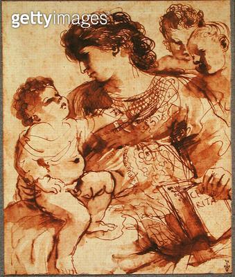 <b>Title</b> : Charity (pen & ink on paper)Additional Infola Charite entoure de trois enfants sur son livre le mot Caritas;<br><b>Medium</b> : pen and ink on paper<br><b>Location</b> : Musee Conde, Chantilly, France<br> - gettyimageskorea