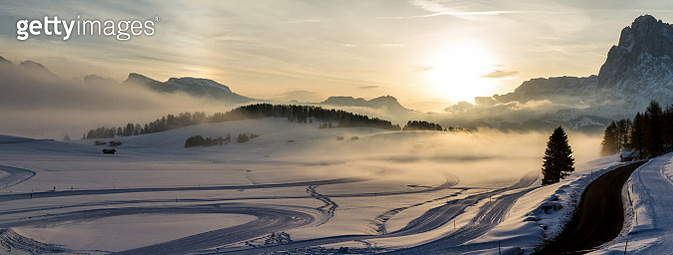 Panoramic aerial view of Seiser Alm at sunrise - gettyimageskorea