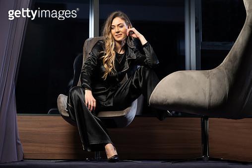 Beautiful woman posing in fashionable pantsuit - gettyimageskorea