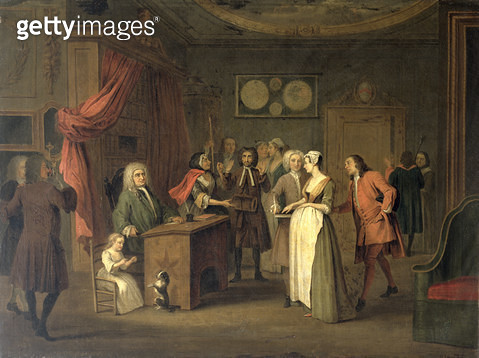 <b>Title</b> : The Denunciation (oil on canvas)Additional Infocopy after William Hogarth (1697-1764); pregnant woman lies under oath that the r<br><b>Medium</b> : <br><b>Location</b> : Osterley Park, Middlesex, UK<br> - gettyimageskorea