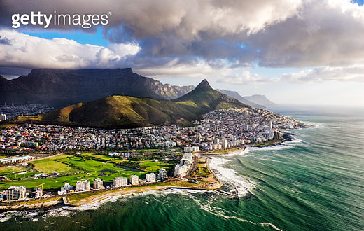 Clouds Over Lion's Head and Table Mountain from Helicopter - gettyimageskorea