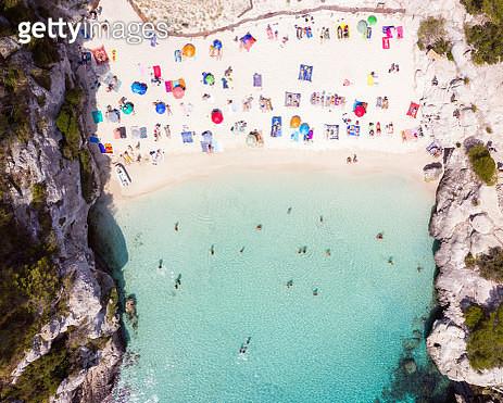 Aerial of Cala Macarelleta beach, Menorca - gettyimageskorea