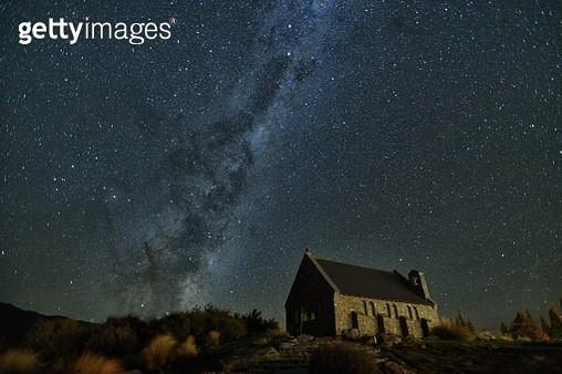 Milky way stars and Church of the Good Shepherd - gettyimageskorea