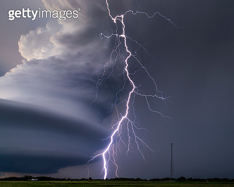 Forked lightning and rotating super storm - gettyimageskorea