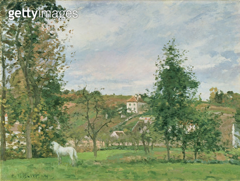<b>Title</b> : Landscape With A White Horse In A Field, L'Ermitage, 1872 (oil on canvas)<br><b>Medium</b> : oil on canvas<br><b>Location</b> : Private Collection<br> - gettyimageskorea