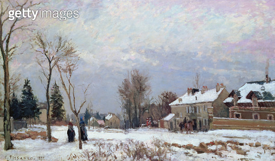 <b>Title</b> : Road from Versailles to Saint-Germain, Louveciennes, and effects of snow, 1872 (oil on canvas)<br><b>Medium</b> : oil on canvas<br><b>Location</b> : Private Collection<br> - gettyimageskorea