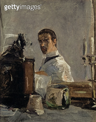 <b>Title</b> : Self Portrait, 1880 (oil on panel)<br><b>Medium</b> : oil on panel<br><b>Location</b> : Musee Toulouse-Lautrec, Albi, France<br> - gettyimageskorea