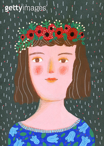 portrait of young woman with red flowers on her head, vertical illustration - gettyimageskorea