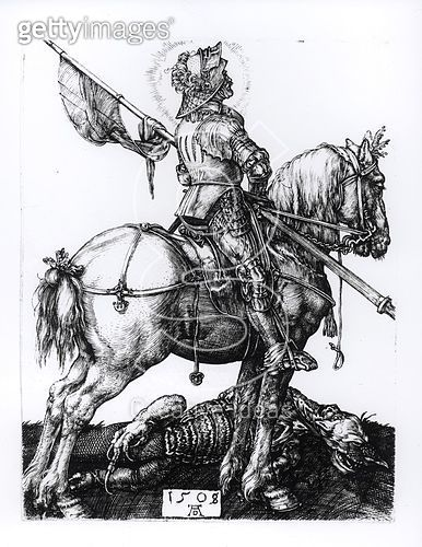 <b>Title</b> : St. George and the Dragon, 1508 ( engraving) (b/w photo)<br><b>Medium</b> : engraving<br><b>Location</b> : Private Collection<br> - gettyimageskorea