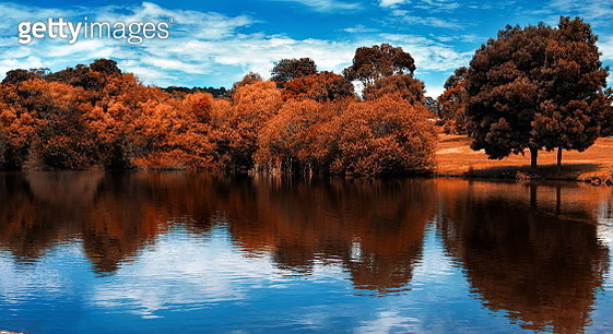 Scenic View Of Lake Against Sky During Autumn - gettyimageskorea