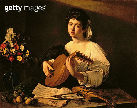 <b>Title</b> : The Lute Player, c.1595 (oil on canvas)<br><b>Medium</b> : oil on canvas<br><b>Location</b> : Hermitage, St. Petersburg, Russia<br> - gettyimageskorea