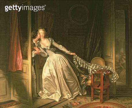 <b>Title</b> : The Stolen Kiss, c.1788<br><b>Medium</b> : oil on canvas<br><b>Location</b> : Hermitage, St. Petersburg, Russia<br> - gettyimageskorea