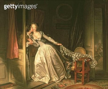 <b>Title</b> : The Stolen Kiss, c.1788<br><b>Medium</b> : oil on canvas<br><b>Location</b> : Hermitage, St. Petersburg, Russia<br> - gettyimageskorea