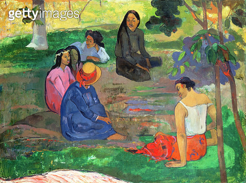 <b>Title</b> : Les Parau Parau (The Gossipers), or Conversation, 1891 (oil on canvas)<br><b>Medium</b> : oil on canvas<br><b>Location</b> : Hermitage, St. Petersburg, Russia<br> - gettyimageskorea