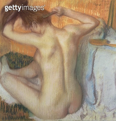 <b>Title</b> : Woman combing her hair, c.1886 (pastel)<br><b>Medium</b> : pastel on cardboard<br><b>Location</b> : Hermitage, St. Petersburg, Russia<br> - gettyimageskorea