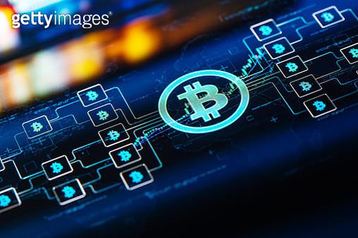 Bitcoin network concept on digital Screen - gettyimageskorea