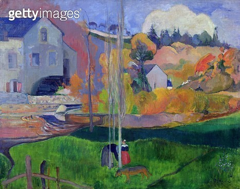 <b>Title</b> : Brittany Landscape: the David Mill, 1894 (oil on canvas)<br><b>Medium</b> : oil on canvas<br><b>Location</b> : Musee d'Orsay, Paris, France<br> - gettyimageskorea
