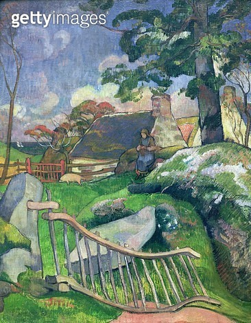 <b>Title</b> : The Wooden Gate or, The Pig Keeper, 1889 (oil on canvas)<br><b>Medium</b> : oil on canvas<br><b>Location</b> : Private Collection<br> - gettyimageskorea