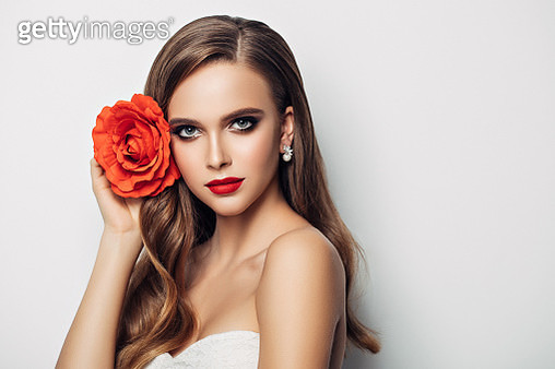 Beautiful woman with long hair - gettyimageskorea