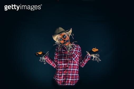 Scary Pumpkin Scarecrow Halloween Costume - gettyimageskorea