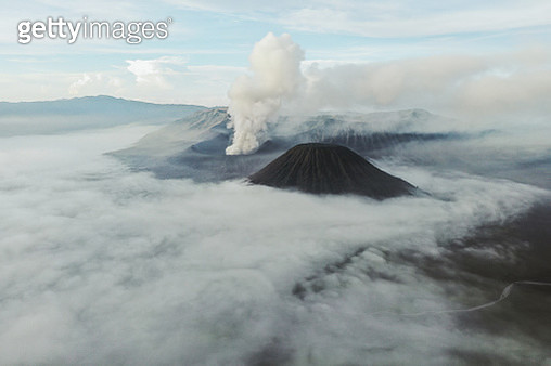 Scenic aerial view of Bromo volcano erupting on Java, Indonesia - gettyimageskorea