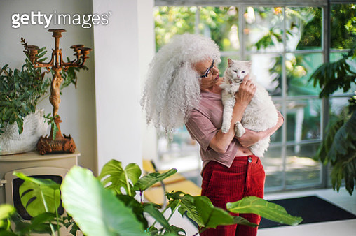 A beautiful mature woman with grey hair holding her white cat. - gettyimageskorea