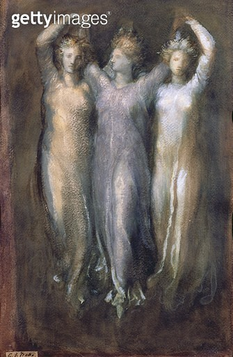Classical Study with Three Female Forms (pastel on paper) - gettyimageskorea
