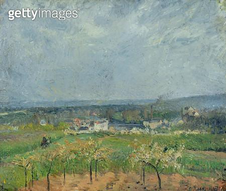 <b>Title</b> : Landscape in Pontoise, 1877 (oil on canvas)<br><b>Medium</b> : oil on canvas<br><b>Location</b> : Musee de la Ville de Paris, Musee du Petit-Palais, France<br> - gettyimageskorea